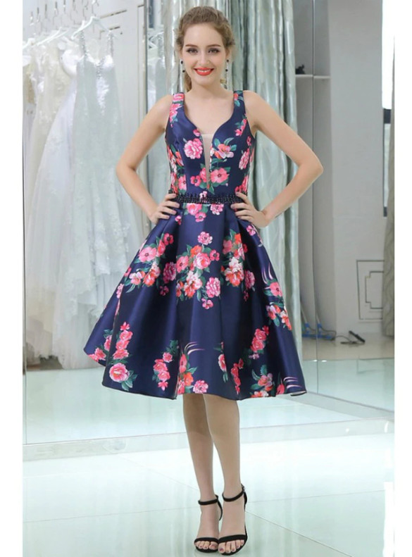 Navy Blue Satin Print Beading Homecoming Dress