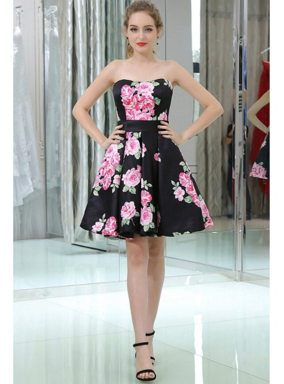 Black Satin Print Strapless Homecoming Dress