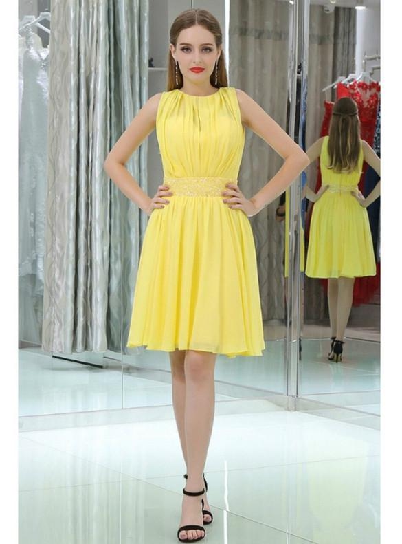 Yellow Chiffon Pleats Beading Homecoming Dress