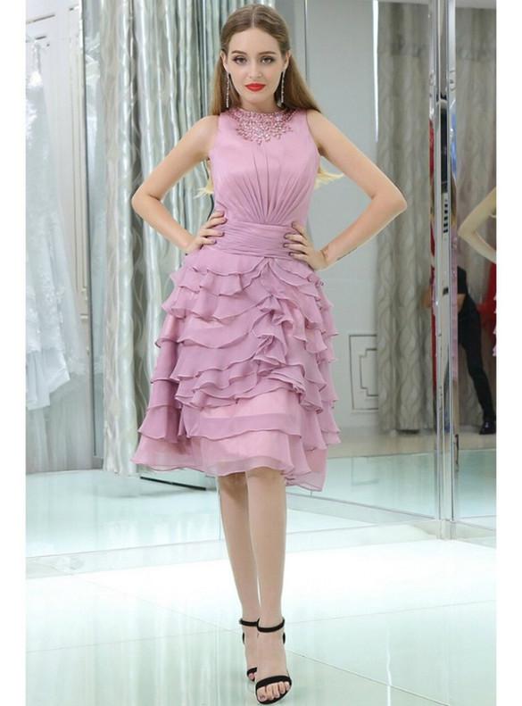 Dark Pink Chiffon Pleats Crystal Homecoming Dress