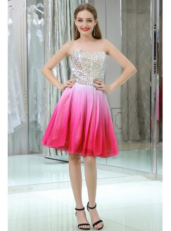 Pink Chiffon Strapless Crystal Homecoming Dress