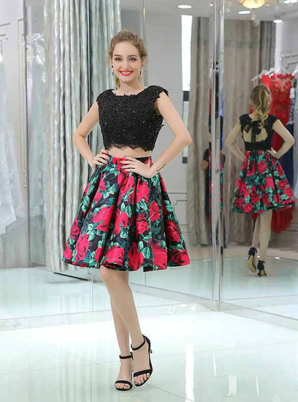 Black Two Piece Print Appliques Beading Homecoming Dress