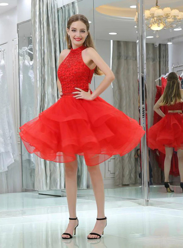 Red Tulle Two Piece Beading Homecoming Dress