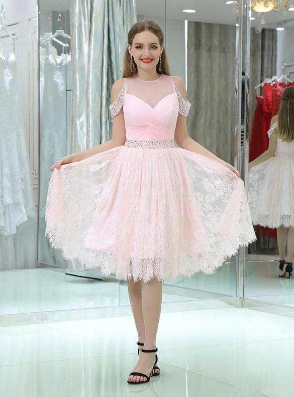 Pink Lace Pleats Beading Homecoming Dress