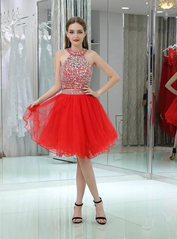 Red Tulle Two Piece Beading Backless Homecoming Dress