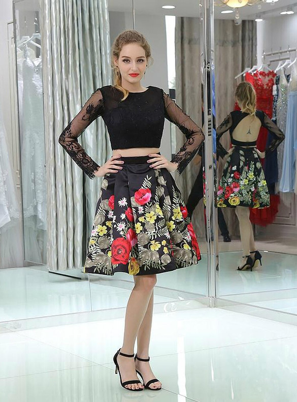 Black Satin Print Two Piece Long Sleeve Homecoming Dress