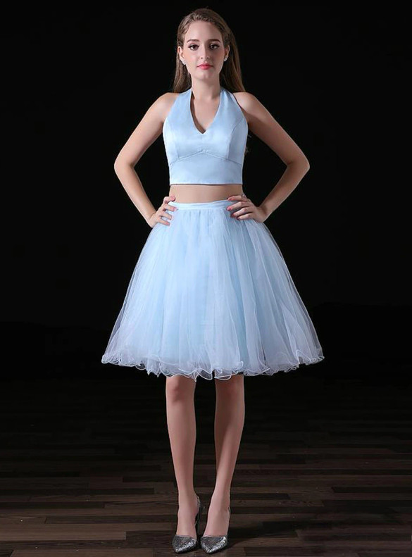 Blue Tulle Two Piece V-neck Homecoming Dress