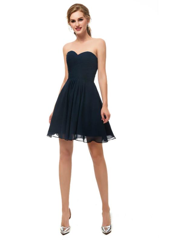 Simple Navy Blue Chiffon Pleats Homecoming Dress