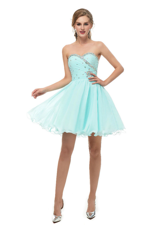 Blue Chiffon Strapless Pleats Crystal Homecoming Dress