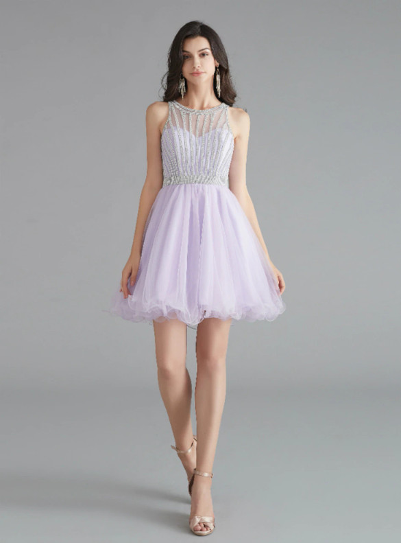 Light Purple Tulle Beading Homecoming Dress