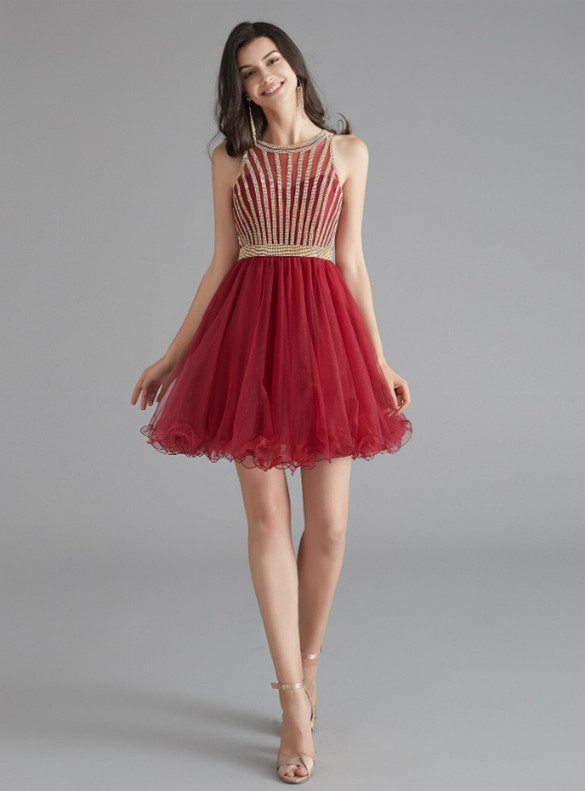Burgundy Tulle Beading Homecoming Dress
