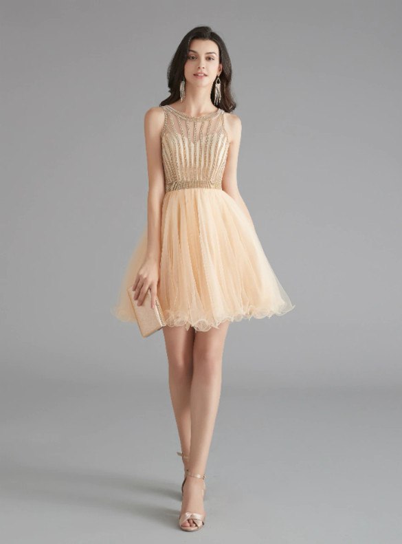 Champagne Tulle Beading Homecoming Dress