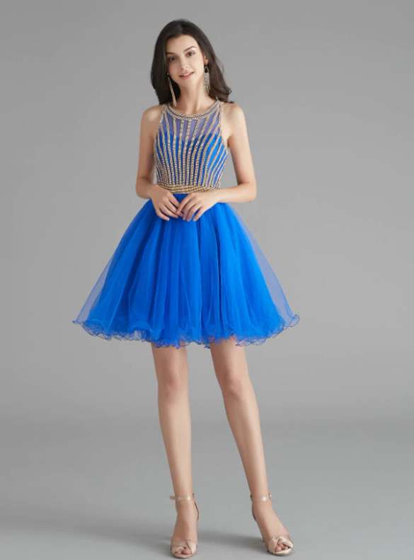 Sexy Royal Blue Tulle Beading Homecoming Dress