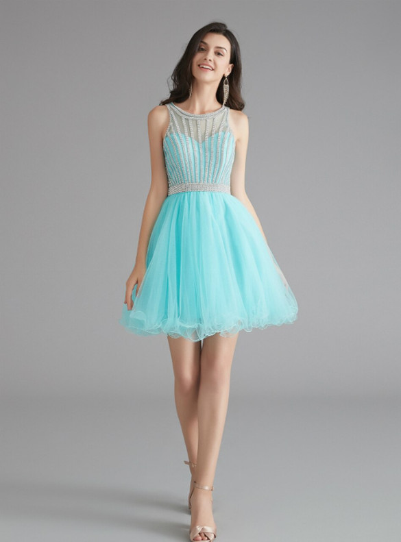 Blue Tulle Beading Homecoming Dress