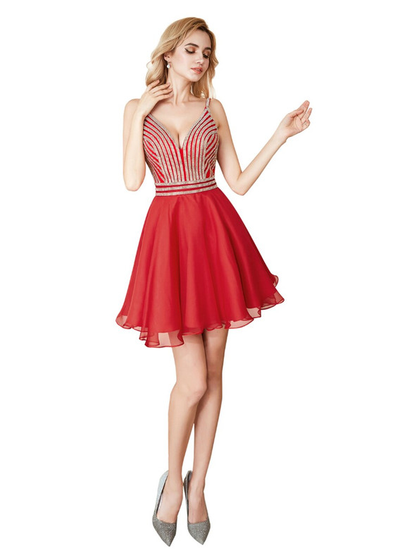 Red Chiffon Beading Straps Backless Homecoming Dress
