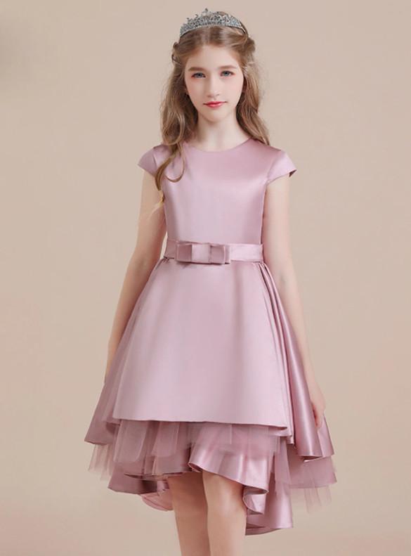 Pink Satin Hi Lo Cap Sleeve Flower Girl Dress