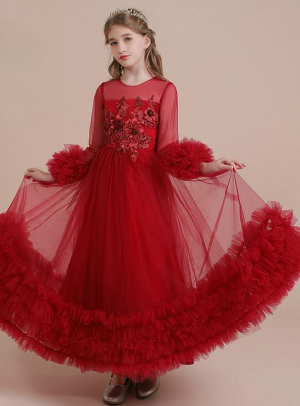 Burgundy Tulle Long Sleeve Appliques Flower Girl Dress