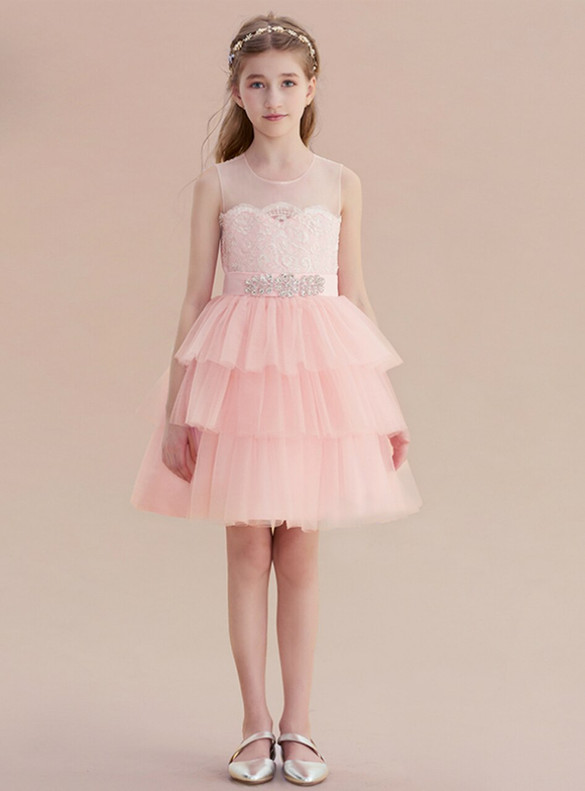 Pink Tulle Lace Flower Girl Dress With Belt
