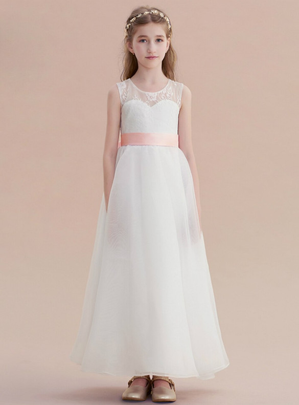 White Chiffln Lace Flower Girl Dress With Pink Bow
