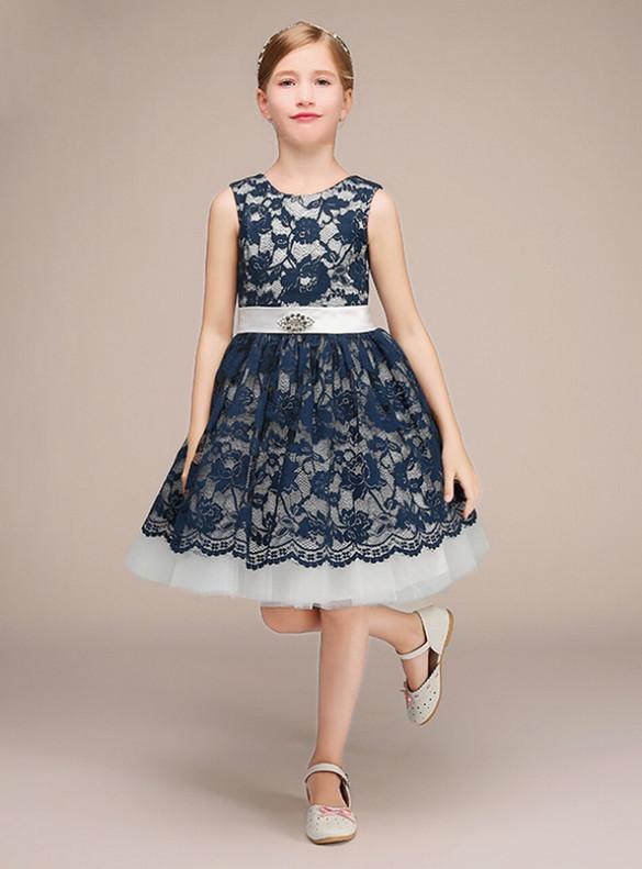 A-line Lace Tulle Short Flower Girl Dress