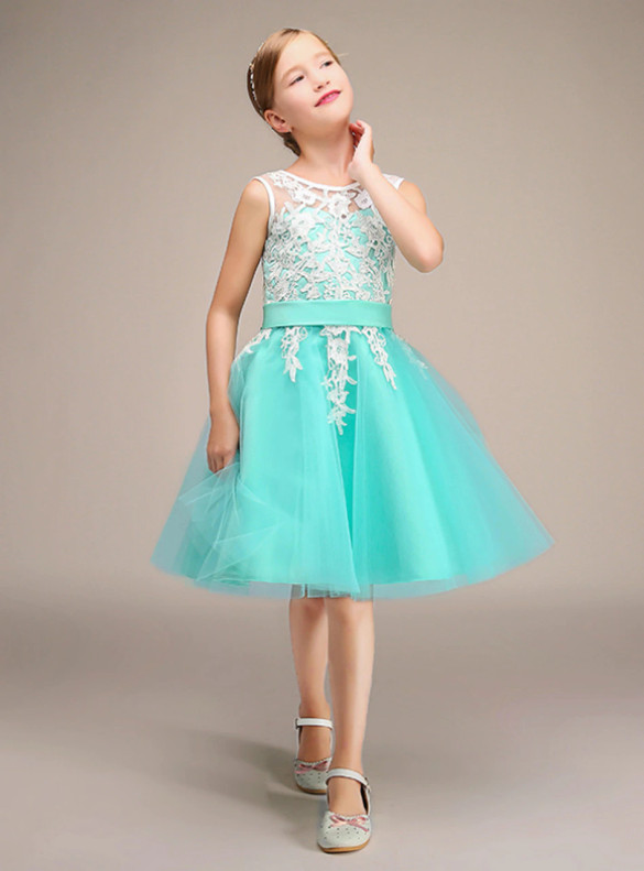 Tulle Lace Appliques Sleeveless Flower Girl Dress