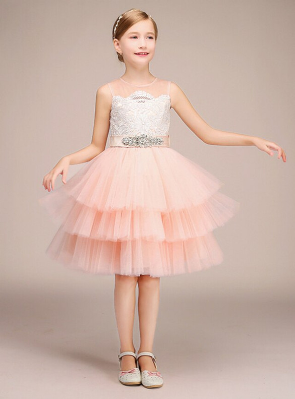 Pink Tulle Lace Appliques Flower Girl Dress With Sash
