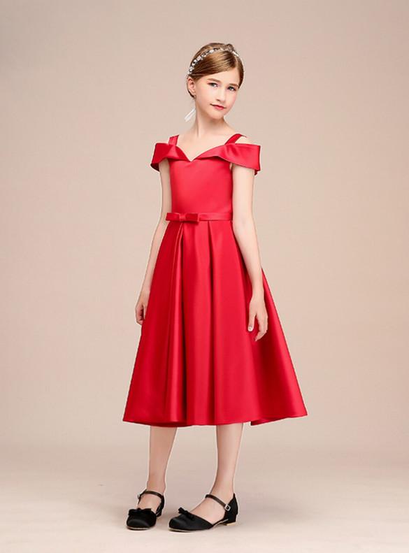 A-Line Red Satin Straps Tea Length Flower Girl Dress