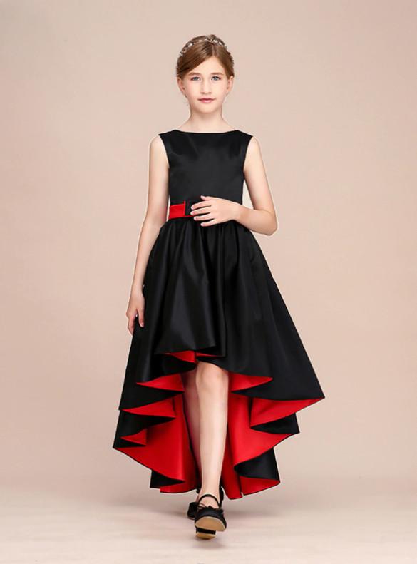Black Satin Hi Lo Flower Girl Dress With Bow