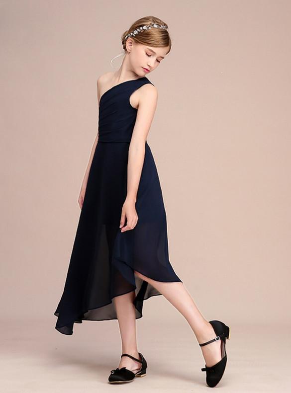 Navy Blue Chiffon One Shoulder Flower Girl Dress