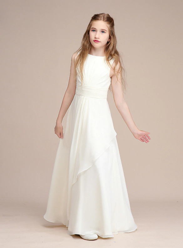 White Chiffon Pleats Flower Girl Dress