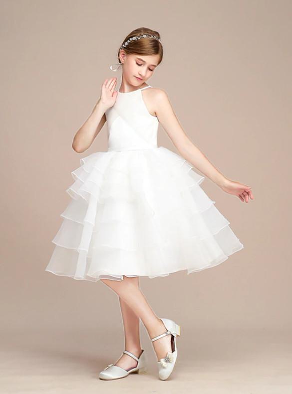 White Chiffon Tiers Knee Length Flower Girl Dress