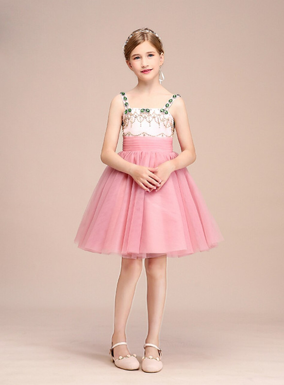 Pink Tulle Straps Beading Crystal Flower Girl Dress