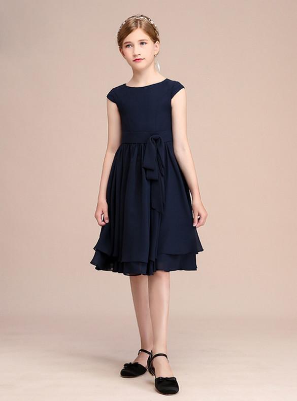 Cheap Navy Blue Chiffon Cap Sleeve Flower Girl Dress