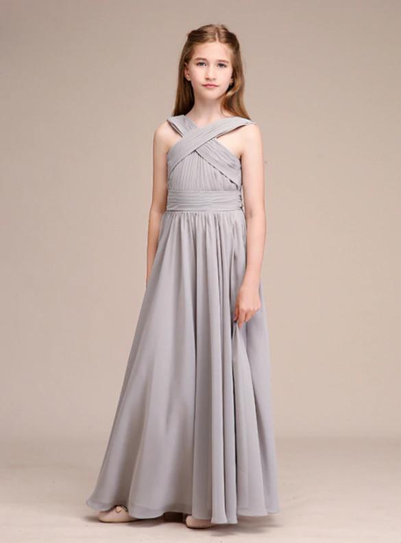 Lovely Gray Chiffon Pleats Flower Girl Dresses