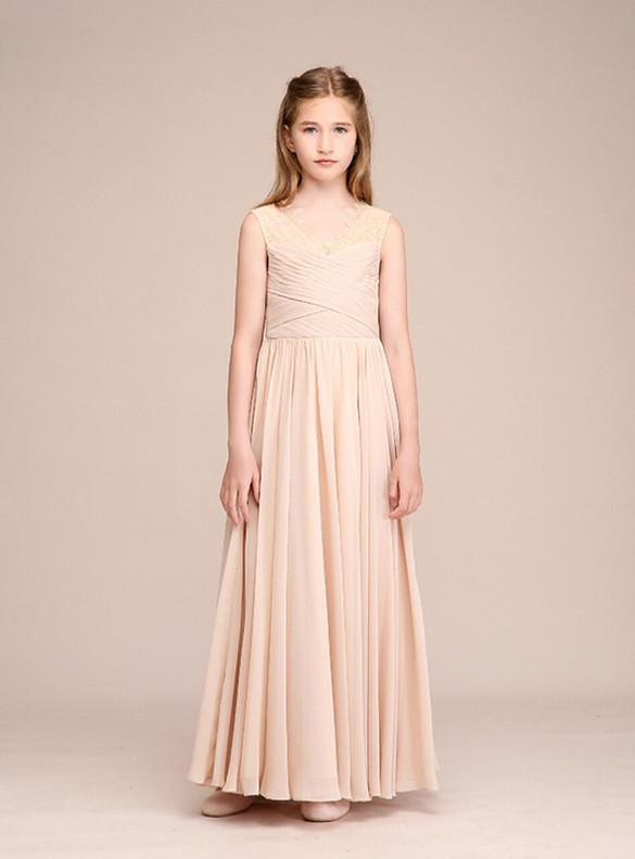 Champagne Chiffon V-neck Pleats Flower Girl Dress