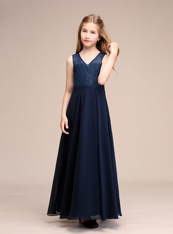 Navy Blue Chiffon Lace Backless Flower Girl Dress