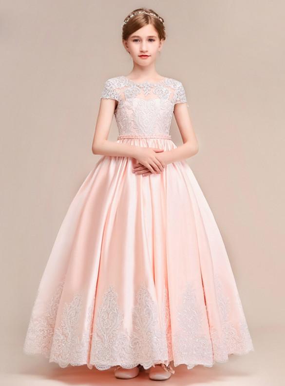 Pink Satin Appliques Cap Sleeve Flower Girl Dress