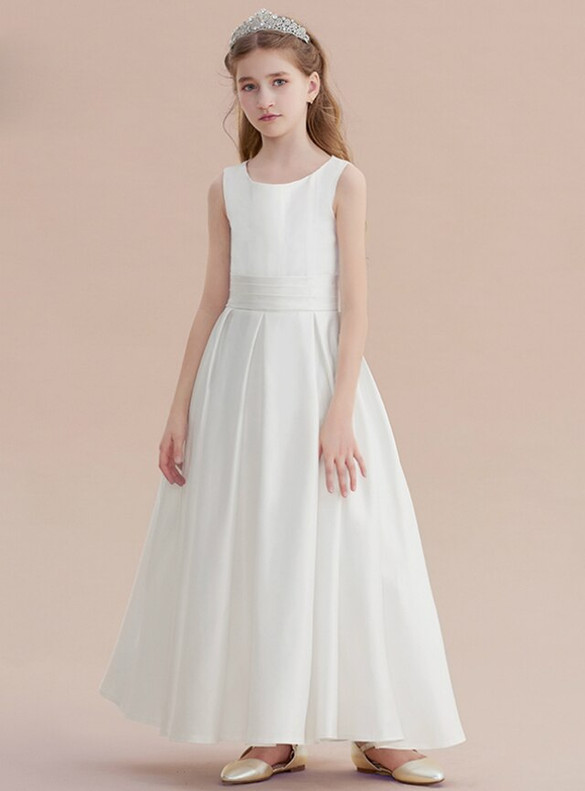 Dreamy White Satin Flower Girl Dress With Bow