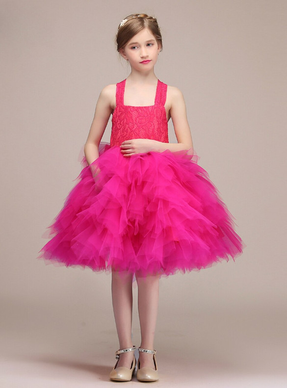 Fuchsia Tulle Lace Straps Flower Girl Dress With Bow