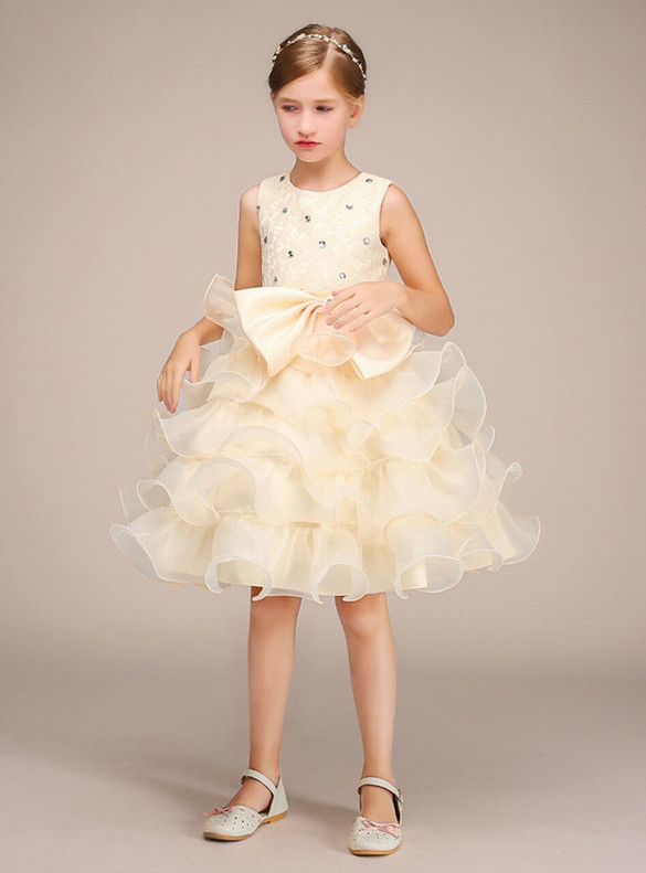 Yellow Lace Beading Flower Girl Dress With Bow