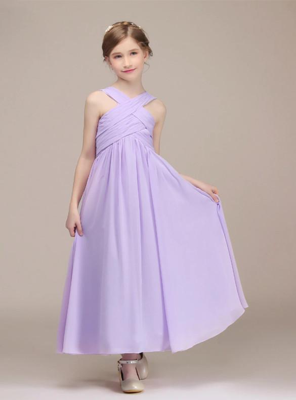 Popular Lilac Chiffon Pleats Flower Girl Dress