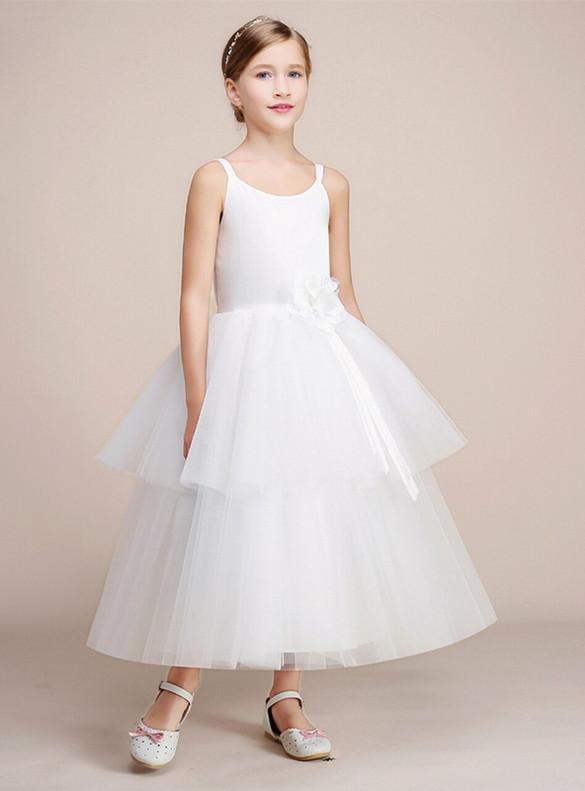 A-Line White Tulle Straps Flower Girl Dress