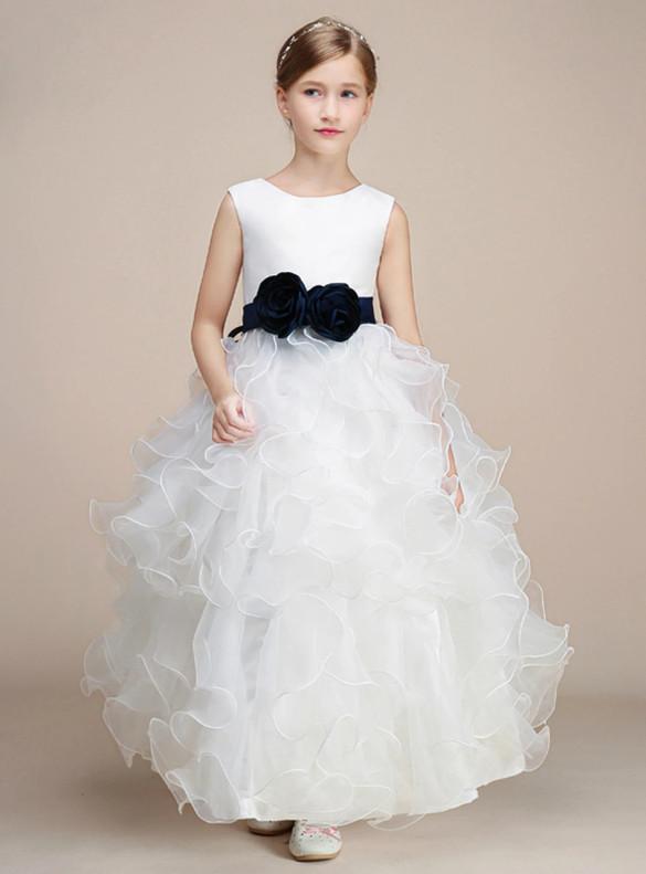 White Organza Flower Girl Dress With Sash