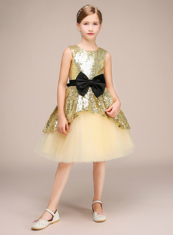 Gold Tulle Sequins Flower Girl Dress With Bow