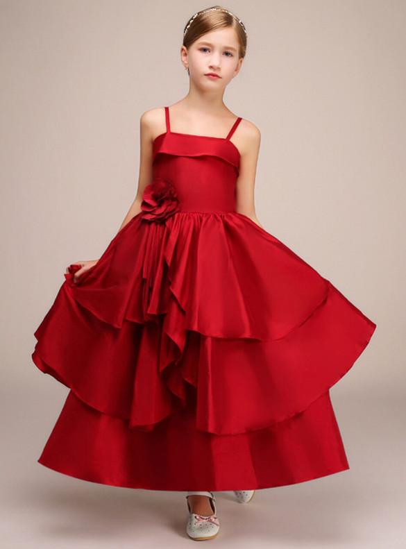 Red Satin Spaghetti Straps Flower Girl Dress