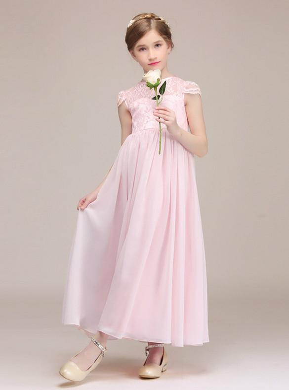 Pink Chiffon Lace Cap Sleeve Flower Girl Dress