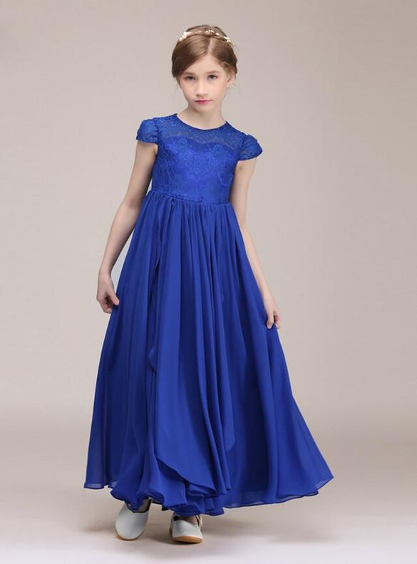 Royal Blue Chiffon Lace Cap Sleeve Flower Girl Dress