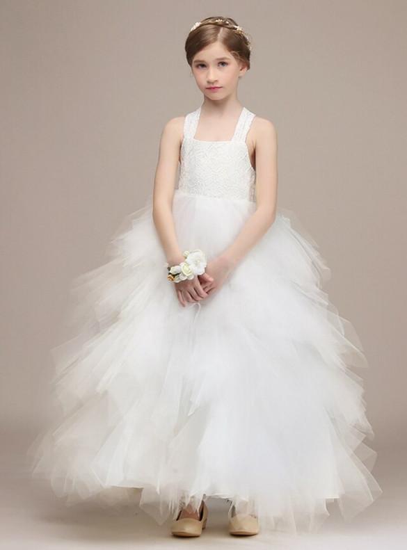 White Halter Tulle Lace Flower Girl Dress