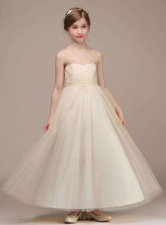 Champagne V-neck Sleeveless Flower Girl Dress