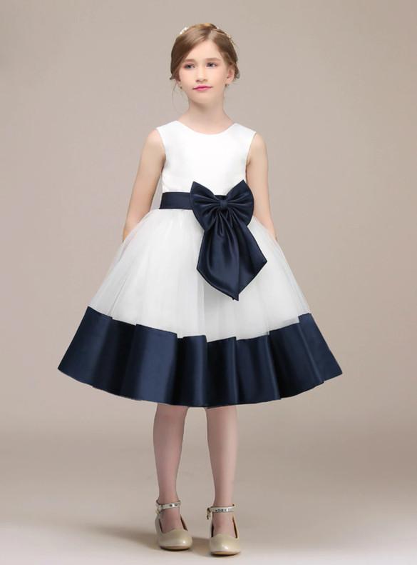 White Tulle Blue Satin Flower Girl Dress With Bow